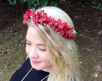 Valentines wedding headband/flower crown/ bridesmaids /wedding/wedding hair accessory/autumn/fall fashion/boho chic / floral wreath