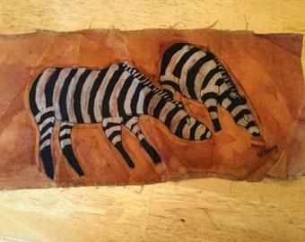 painted fabric - zebra
