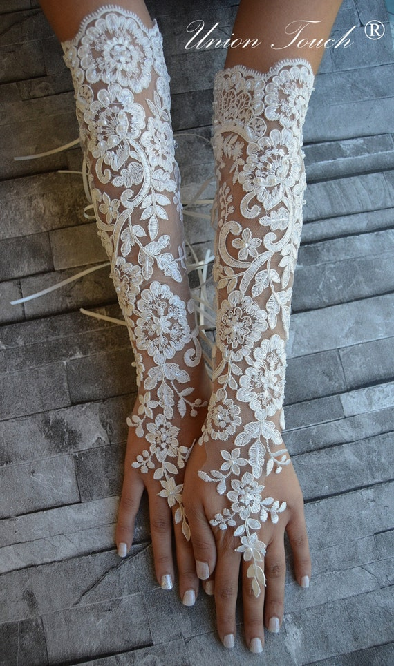 Extra long ivory frame wedding glove bridal glove by for Wedding dress with long gloves