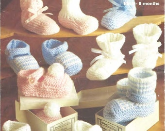 Marriner 1962 Vintage Pattern, Baby Booties Knitting Pattern, Baby Shoes Knitting Pattern, Vintage Baby Bootees Knitting Pattern