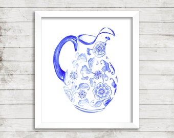 Chinoiserie Blue and White Porcelain Pitcher - Giclée Print. Ming China Vase. Archival Print. Watercolor Art.