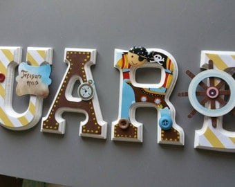 Theme wooden wall letters pirate. Baby name. Boy