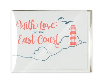 Love from the East Coast Letterpress Box Set of 5 Cards // Lighthouse // Birds