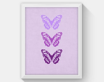 Butterfly Art Print, Purple Butterfly Printable, Butterfly Nursery Decor, Girls Room Decor, Purple Teen Girl Room Decor, Download