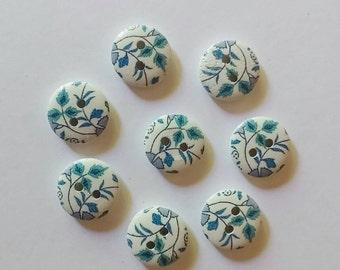Blue Floral Buttons x 8