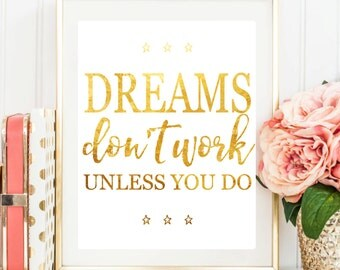 "Printable Art ""Dreams Don't Work Unless You Do"" Typography Art Print Dorm Decor Wall Art Typography Poster Inspirational Quote Office Decor"