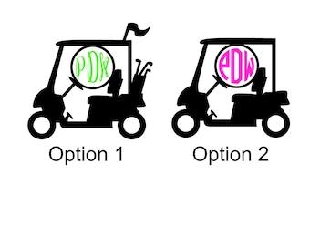 Golf Cart Monogram Sticker Vinyl Decal