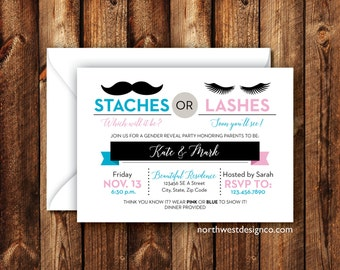 Modern Gender Reveal Party Invitation Staches or Lashes Baby Announcement Baby Boy or Baby Girl Reveal Get Together Pink Blue