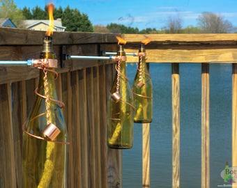 Three 750ml Yellow Wine Bottle Tiki Torches - Gift for Mom - Outdoor Lighting - Garden Decor - Oil Lamp - Wine Bottle Tiki Torch - Gift Idea