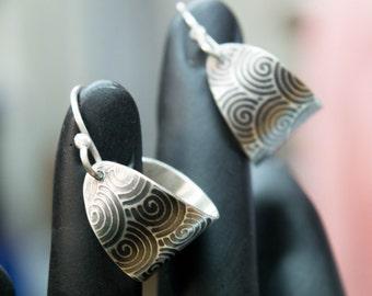 Silver hoop earrings, Rustic earrings, Boho Earrings ,Small Dangle silver hoops ,Basket  Earrings, Contemporary Jewelry, Metalsmith jewelry