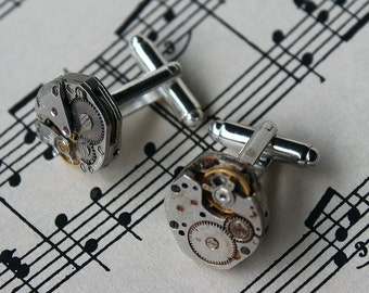 Cufflinks with complete watch inner workings. Steampunk cufflinks. Made in Australia. Gentlemens cufflinks. Groom and groomsmen gifts.