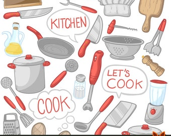 Cook Objects Kitchen Items Isolated Doodle Icons Clipart Scrapbook Set