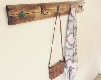 Rustic Wood Coat Rack, Reclaimed Pallet Wood, with Turquoise knobs