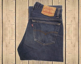 Vintage Levis 501xx Jeans USA Made 1990s Straight Leg Faded Dark Blue Denim Button Fly Red Tab 90s Measure As W29 L32.5