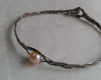 sterling silver bracelet , freswater pearl bracelet , handmade bracelet , wire wrapped bracelet