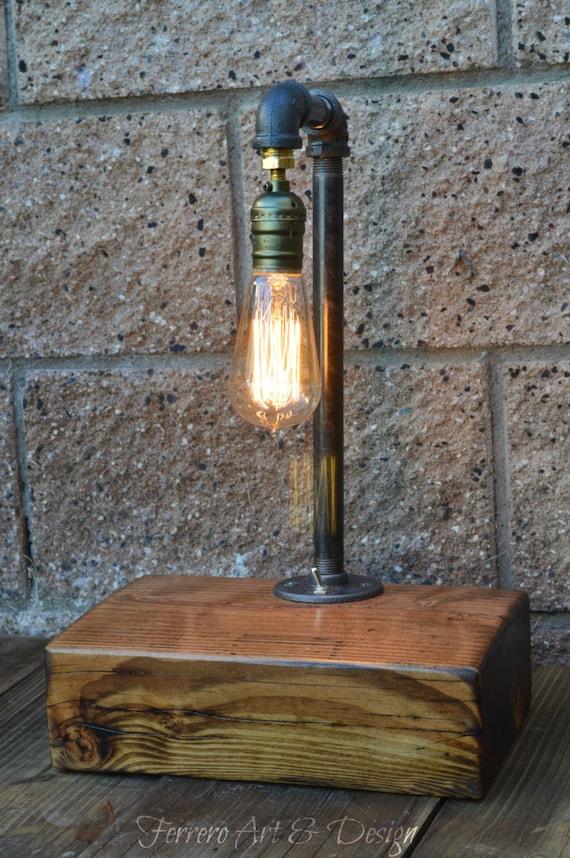 ... Lamp, Industrial Lamp, Desk Light, Unique Lamp, Reclaimed wood