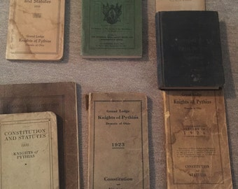 Vintage Knights of Pythias Books - Lot of 8 - various years 1899 - 1928