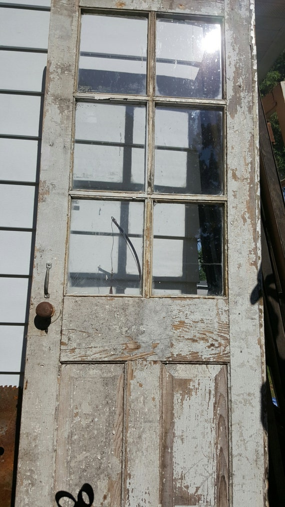 Vintage Wood Door Six 6 Pane Old Wood Door Rustic Wedding