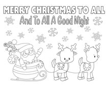 Christmas Coloring Page, 8.5x11, Instant Download, Printable Santa Coloring Sheet, Holiday Coloring, Kid's Christmas Activity, Reindeer