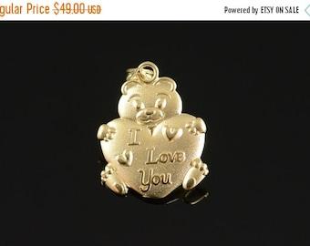 1 Day Sale 14K I Love You Bear Hugging Heart Pendant Yellow Gold