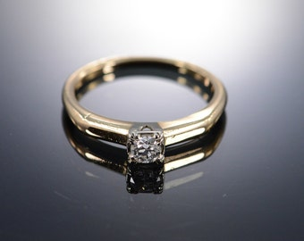 14K 0.20 CT Old Mine Cut Solitaire Diamond Engagement Ring - Size 6.25 / Yellow Gold - EM960