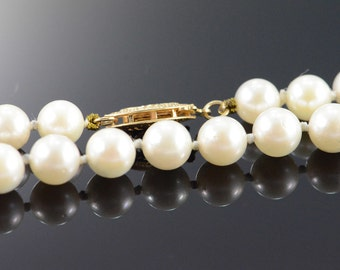 """14K 6mm Pearl Strand Necklace 16.25"""" Yellow Gold - EM1720"""