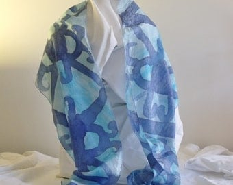 Scarf silk habotai hand painted bold geometric in turquoise and royal blue