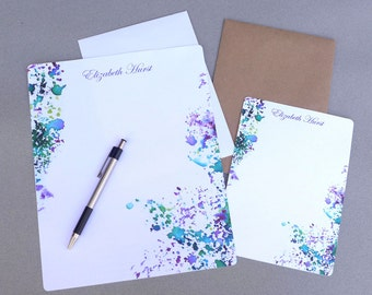 Stationery Set, Letter Writing Set, Personalized Stationary, Writing Paper, Flat Note Cards,  Abstract, Purple & Green Watercolor Splash