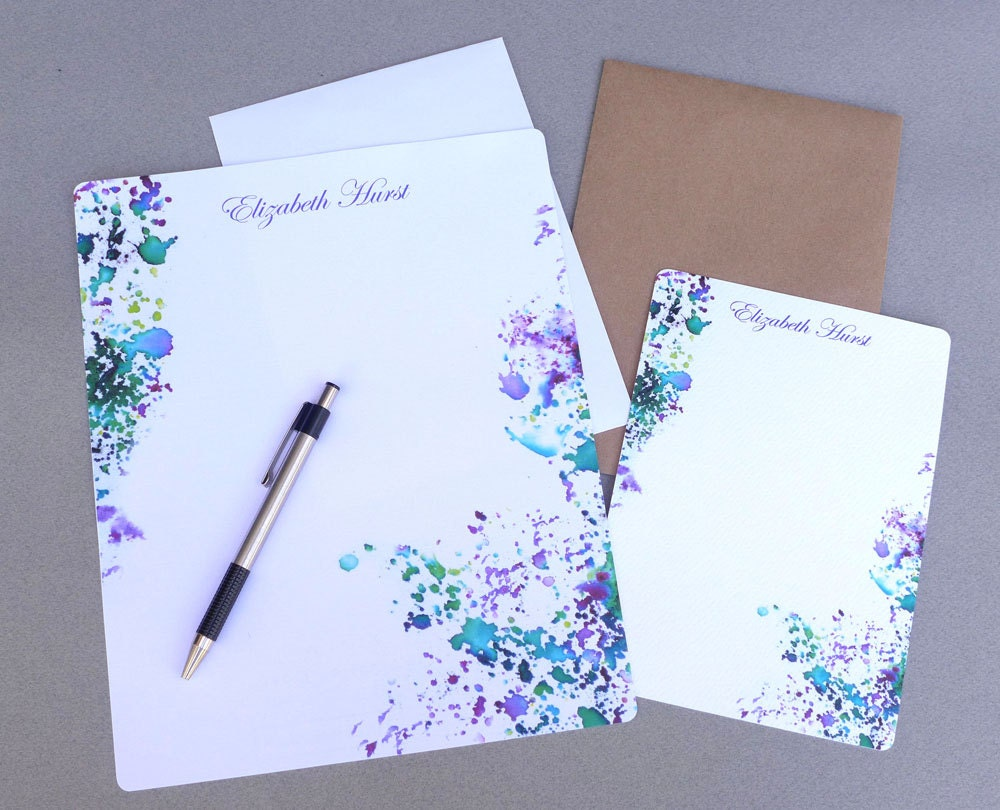stationery set letter writing set personalized stationary writing paper flat note cards abstract purple green watercolor splash