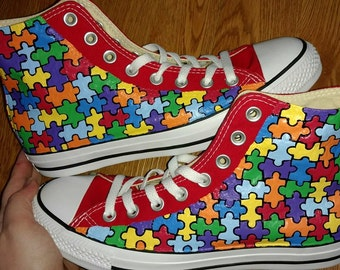 Autism Awareness Hand Painted High Tops