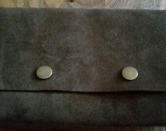 Large Vintage Leather Suede Belt Pouch
