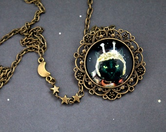 The Captain Cosmos necklace space cat retro scifi science fiction geekery cute