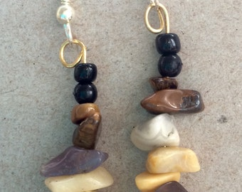 Rocks and bead Earrings