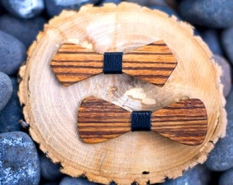 Zebra Wood Hair Bow (2 PACK)- 4 colors - Black, Red, Green, Purple (2-Pack) Hair Accessories, Clip, Up-do, Birthday, Photo Prop, Pretty