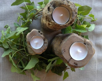 Set of three wooden candle holders, table decoration, decoration natural natural washed up country, holiday, beach, sea, summer