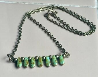 Czech Glass Bar Necklace, Brass Chain Necklace, Minimalist Jewelry, Czech Glass Jewelry, Green Bar Necklace, Boho Jewelry, Green Czech Glass