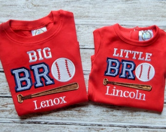 BIG brother and LITTLE brother shirt; Big Brother shirt; Little Brother shirt; Boy's red shirt; Brother shirt; Baseball shirt