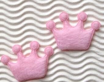 SET of 15 Light Pink Padded Furry Felt Crown Appliques