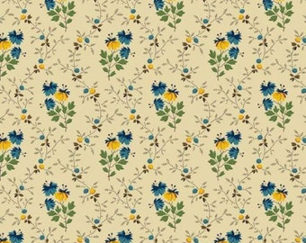 Molly B's Bessie Blues Reproduction Cotton Quilt Fabric Small  Floral Beige   MBT