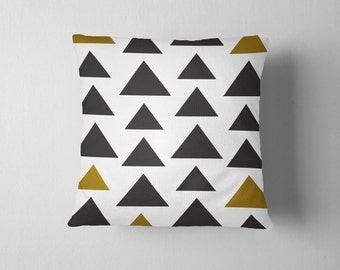 Simple black and mustard geometric triangle throw pillow