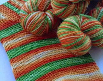Hand dyed self striping merino sock yarn - Fresh Carrot