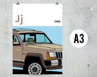 J is for Jeep - A3 Print