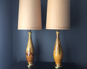 Pair of Tall Mid Century Drip Glaze Lamps
