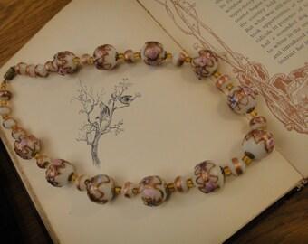 Antique Venetian wedding cake/fiorato bead necklace with screw clasp