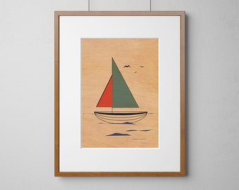 Green Sail Boat Print | Wood Wall Art | Mahogany Wood |  A3 or 12 x 16 Inch | Free Shipping Worldwide