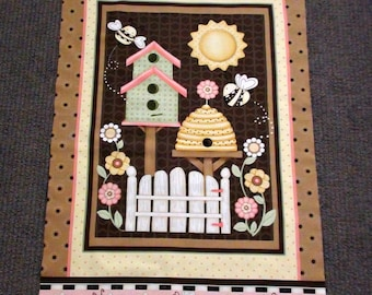 Bee fabric panel. Bumblebee fabric. Honey bee quilt panel. Beehive. Flower fabric quilting. Sun fabric. Birdhouse. Summer. Cottage. Brown.