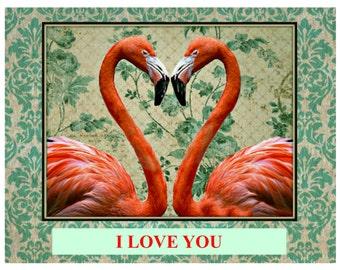 I Love You - Flamingos - Valentine card
