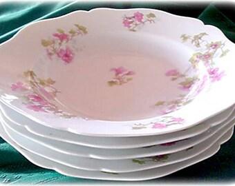 Limoges France Porcelain Dessert Bowls Wm Guerin Co, Pink Flowers HP