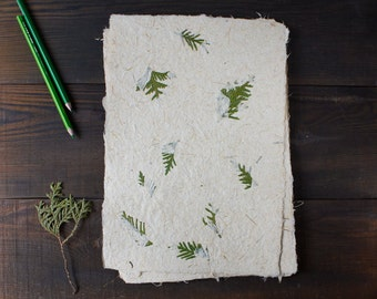 Handmade paper with Thuja tree branch - Natural textured paper - Decorative paper - Scrapbooking Paper - Eco-friendly (#26t)