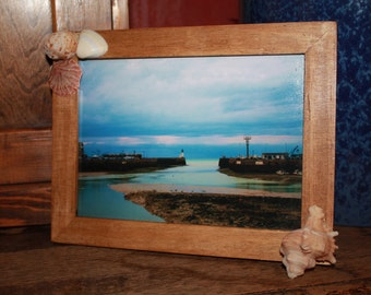Up-cycled picture frame, decorated with shells.